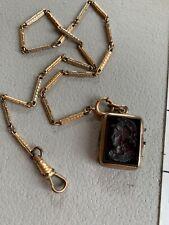 "Vintage Victorian 1/20 12K Gf Watch Chain Fob Gf Intaglio Knight Onyx Locket 14"""