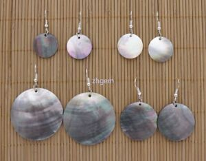 Natural Black Coin Shape Shell  Mother of Pearl Drop/Dangle Earring 20mm-40mm