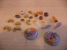 HAND MADE DOLLS HOUSE FURNITURE MINIATURE FOOD KITCHEN cakes fruit plates d