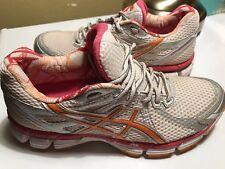 Asics GT-2000 Women's T2K7N White/Orange/Silver Running Shoes Size 7.5