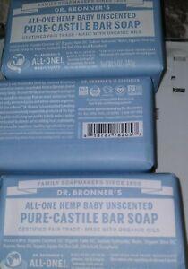3 Pk Dr. Bronner's All-One Hemp BABY UNSCENTED Pure-Castile Bar Soap 5oz each
