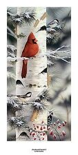 Mark Daehlin Feathered Friends I  Cardinal Print  Size 5 x 14.5 Plus Borders