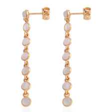 Moonstone Dangle Earrings in Yellow Gold Overlay in S/Silver 2.80cts.
