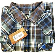 LEGENDARY WHITETALES Western Mens Shirt Size L Tall Long Sleeve Snap Front Plaid