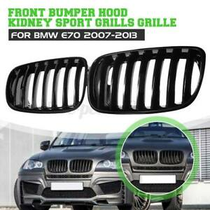 Pair Front Hood Kidney Grill Grille Shiny Black For BMW X5 E70 X6 E71 2007-2013