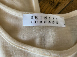 skin and threads Womens Wool Basic Cream Longsleeve Top Size 2 Ex Condition