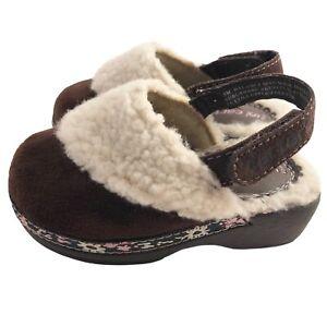 Carter's Baby Girl Sz 5 Sherpa Faux Suede Clogs - Boho