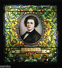 GUARANTEED TIFFANY  STAINED LEADED GLASS WINDOW OF MUSICIAN ANTON RUBINSTEIN