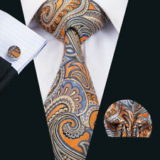 USA Mens Silk Tie Orange Paisley Necktie Set Jacquard Woven Wedding Business
