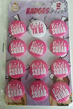 12 x Hen Party Badges -  Hen Do Bride Squad Badges - Bridal Shower Accessories