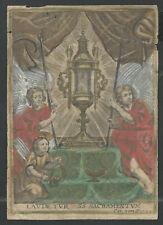 Grabado antiguo 1700 de la Custodia santino holy card image pieuse andachtsbild