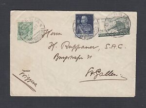 ITALY 1926 MULTIPLE ISSUES ON COVER CATANIA FERROVIA TO ST GALLEN SWITZERLAND