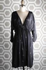 NWT Girl by Band of Outsiders Steel Grey V Neck Gathered Dress 3 $689 Silk