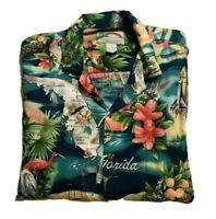 Paradise Found Hawaiian Mens Shirt L Florida South Beach Flamingos Palm Trees