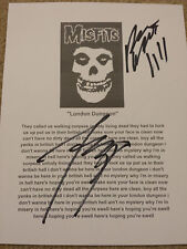 Misfits London Dungeon Signed Autograph Lyric Sheet #A