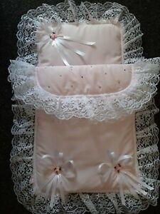 Coachbuilt Silver Cross Dolls Pram Set Pink/White with Lace & SWAROVSKI Crystals