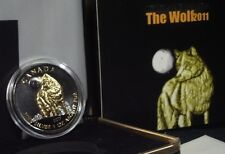 MAKE OFFER-Wolf Canadian 2011 Silver Coin with Ruthenium & Gold-Wildlife Series