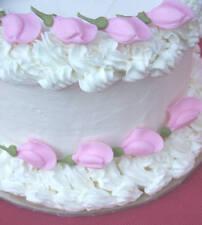 "64 - 1 1/4""  Pink Rosebuds Sugar Icing Flowers Cupcake Cake Toppers"
