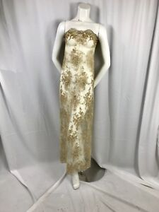 Gold Flowers Embroider And Hand Beaded On A Mesh Lace-bridal-Prom-Wedding Lace.