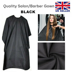 Professional Hair Cutting Apron Salon Barber Hairdressing Cut Gown Black Cape UK