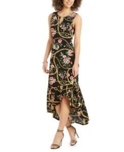 MSRP $75 Thalia Sodi Flounce-Hem Maxi Dress Size Small Black Floral
