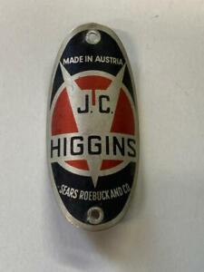 vintage bicycle J.C. Higgins Head BADGE tag Sears Roebuck OVAL Made in Austria