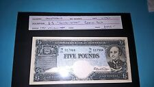 COMMONWEALTH OF AUSTRALIA RESERVE BANK £5 POUNDS COOMBS-WILSON NEAR UNC NOTE