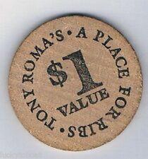 Tony Roma's Place For Ribs $1.00 Vintage Wooden Token Nickel Sahara Av Las Vegas