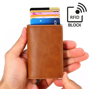 Kartenetui Braun Leder RFID Block Mini Portemonnaie Kreditkarten Schutz
