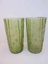 AHITI BAMBOO GREEN GLASS Tumblers - Lot of 2 Anchor Hocking