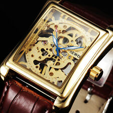 Luxury Gold Mechanical Watch Mens Fashion Leather Band Relogio Masculino Relojes