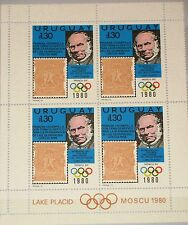 URUGUAY 1979 1538 1042 4er Rowland Hill Olympics 1980 Moscow Stamp on Stamp MNH