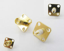 2x RP-SMA Female Male Pin Chassis Panel Mount 4 Hole Flange Solder RF Connector