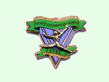 State Championships Level 6 Gymnastics Award Lapel Pin - Congratulations
