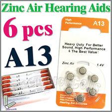 6 pcs Zinc Air Hearing Aid Battery 1.4V A 13 A13 7000ZD PR48 ZA13 13SA