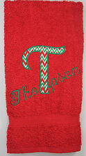 Personalized Embroidered Christmas Chevron Big Letter and Family Name Hand Towel