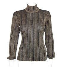 Vintage Gold Metallic Black Striped Mock Turtleneck Bishop Sleeve Top S /5269