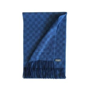 James Cavolini Italy Men's Cashmere Wool Checkered Blue Scarf