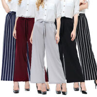 New Women Plain Stripe Wide Leg Trousers Ladies Stretch Elastic Pants Plus Size
