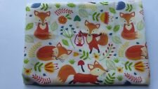 1 metre of polycotton with fun foxes in rust with rust/ green foliage on ivory