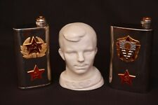 Lot of Vintage CCCP Russia White Young Man Porcelain Bust & Military Flask Lenin