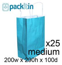 x25 AQUA BLUE paper gift CARRY tote party BAGS handles - MEDIUM (200 x 290mm)