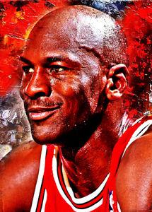 2021 Michael Jordan Chicago Bulls  8/25 Art ACEO Sketch Print Card By:Q