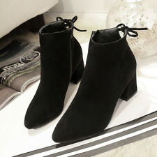 Women Martin Boots Block Heel Side Zipper Shoes Ankle Boots Lace-up Knight Boot