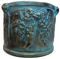 Terra Cotta Blue/Gold Glazed Round Planter
