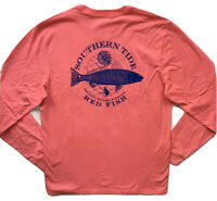 SOUTHERN TIDE Mens Long Sleeve Skipjack Pocket Tee T-Shirt Red Pink NWT MEDIUM