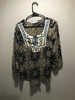 SOLITARE EMBROIDERED PAISLEY STYLE NAVY, CAROLINA BLUE - OPEN BlOUSE WITH BUTTON