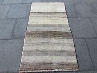 Old Traditional Hand Made Persian Oriental Gabbeh Rug Wool Grey Cream 172x100cm