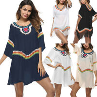 Womens Tassel Bohemian Swimwear Beachwear Bikini Cover Up Loose Beach Cover Up