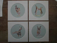 """Hares, set of 4 watercolour prints in 8""""x 8"""" mounts, duck egg blue/green"""